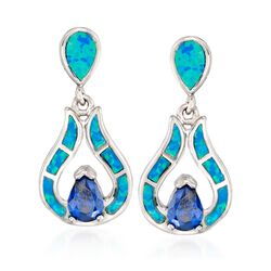 Blue Synthetic Opal and Simulated Tanzanite Drop Earrings in Sterling Silver , , default