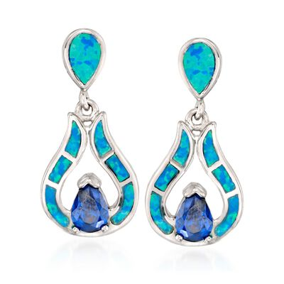 Blue Synthetic Opal and Simulated Tanzanite Drop Earrings in Sterling Silver, , default