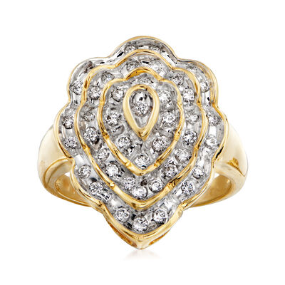 C. 1980 Vintage .65 ct. t.w. Diamond Scalloped Cluster Ring in 14kt Yellow Gold, , default
