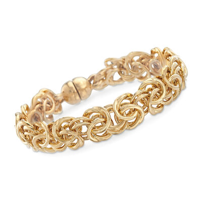 Italian Andiamo 14kt Yellow Gold Byzantine Bracelet with Magnetic Clasp, , default