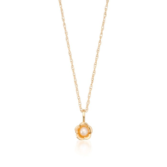 "Child's 2.5mm Cultured Pearl Flower Pendant Necklace in 14kt Yellow Gold. 15"" , , default"