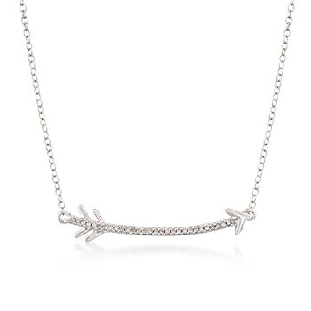 ".10 ct. t.w. Diamond Curved Arrow Necklace in Sterling Silver. 18"", , default"