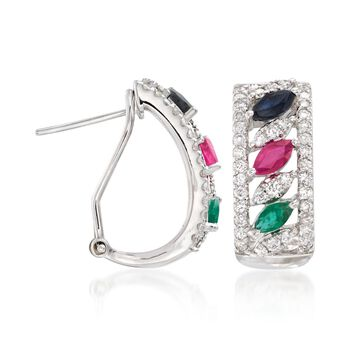 .90 ct. t.w. Multi-Stone and .75 ct. t.w. Diamond Earrings in 14kt White Gold, , default