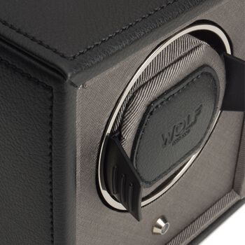 """""""The Cub"""" Black Faux Leather Single Watch Winder by Wolf Designs, , default"""