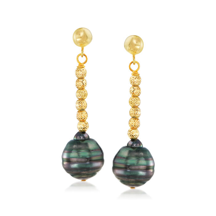 8-10mm Cultured Tahitian Pearl Drop Earrings in 18kt Gold Over Sterling