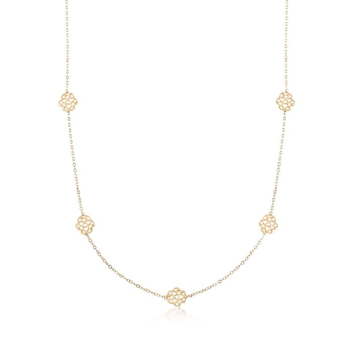 14kt Yellow Gold Station Necklace, , default