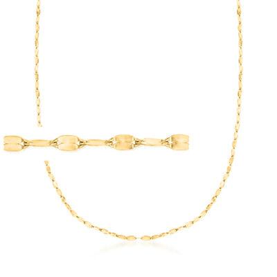 Italian 1.5mm 14kt Yellow Gold Adjustable Slider Lumachina Chain Necklace, , default