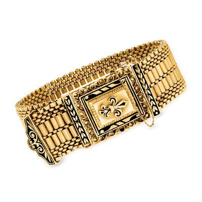 C. 1970 Vintage Women's Richelieu 14kt Yellow Gold Fleur-De-Lis Foldover Watch with Black Enamel