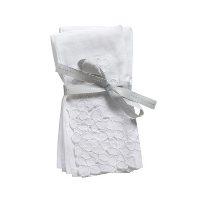 Joanna Buchanan Set of 2 White Hydrangea Linen Dinner Napkins, , default
