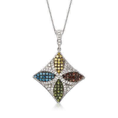 C. 1990 Vintage 1.65 ct. t.w. Multicolored Diamond Floral Pendant Necklace in 18kt White Gold, , default