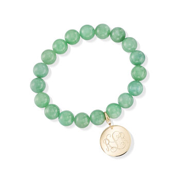 Green Jade Bead Stretch Bracelet with 14kt Yellow Gold Personalized Disc Charm, , default