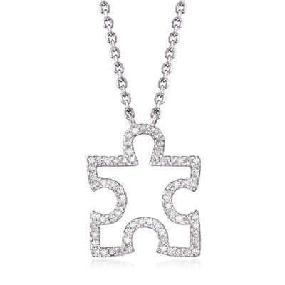 .38 ct. t.w. CZ Puzzle Piece Necklace in Sterling Silver, , default