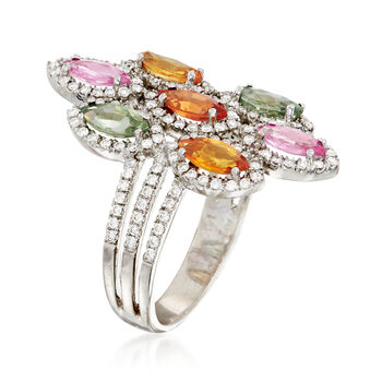 C.1990 Vintage 2.10 ct. t.w. Multicolored Sapphire and .75 ct. t.w. Diamond Ring in 14kt White Gold. Size 6.5