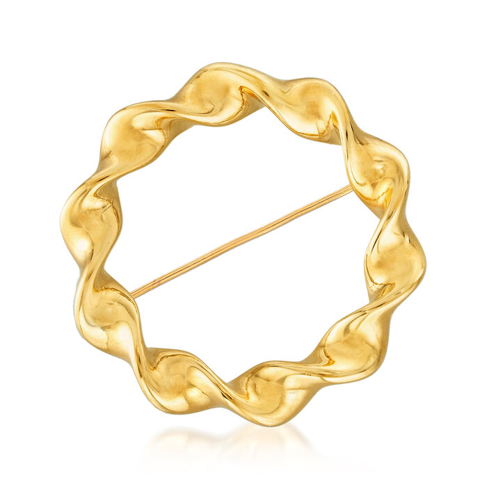 Italian Andiamo 14kt Gold Over Resin Twisted Circle Pin, , default