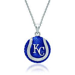 "Sterling Silver MLB Kansas City Royals Baseball Enamel Pendant Necklace. 18"", , default"