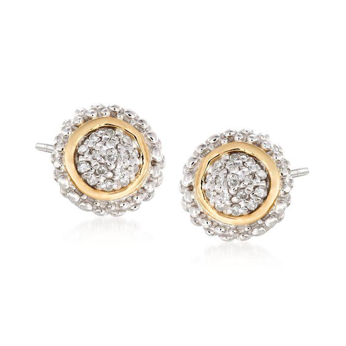 """Phillip Gavriel """"Popcorn"""" .16 ct. t.w. Diamond Stud Earrings in Sterling Silver and 18kt Gold"""