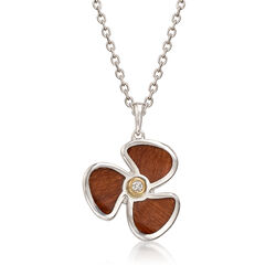 Sterling Silver and Wood Pendant Necklace With 14kt Yellow Gold and Diamond Accents, , default
