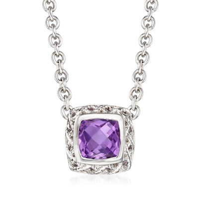 "Andrea Candela ""Rioja"" 1.80 Carat Amethyst Necklace in Sterling Silver, , default"