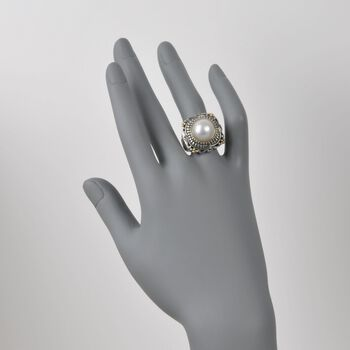 13mm Cultured Mabe Pearl Ring in Sterling Silver and 14kt Yellow Gold, , default