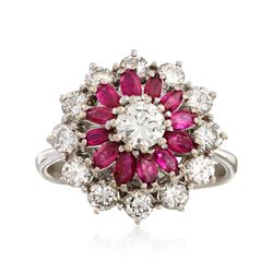 C. 1970 Vintage .85 ct. t.w. Ruby and 1.30 ct. t.w. Diamond Cluster Ring in 18kt White Gold. Size 6, , default
