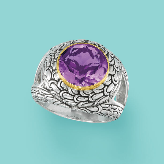 2.30 Carat Amethyst Scrollwork Ring in Sterling Silver with 14kt Yellow Gold