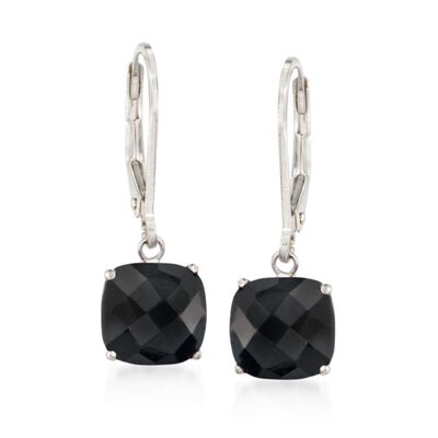 Cushion-Cut Black Onyx Drop Earrings in Sterling Silver, , default
