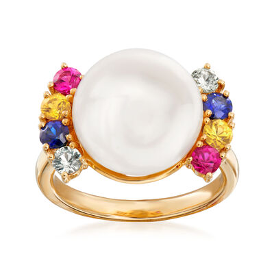 Cultured Pearl and .80 ct. t.w. Multi-Gemstone Ring in 14kt Yellow Gold