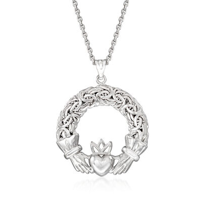 Sterling Silver Byzantine Claddagh Pendant Necklace