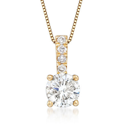 1.00 Carat Diamond Pendant Necklace with .05 ct. t.w. Diamond Bale in 14kt Yellow Gold, , default