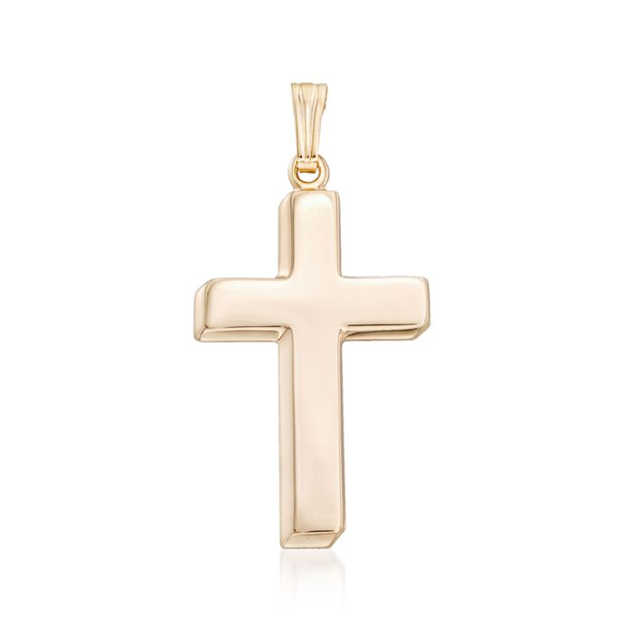 Men's 14kt Yellow Gold Beveled Cross Pendant, , default
