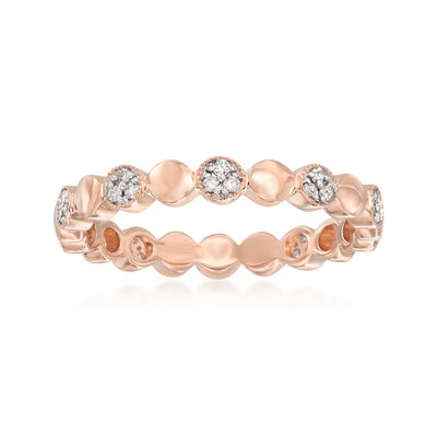 .13 ct. t.w. Pave Diamond Alternating Circle Eternity Band in 14kt Rose Gold, , default