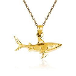 "14kt Yellow Gold Shark Pendant Necklace. 18"", , default"