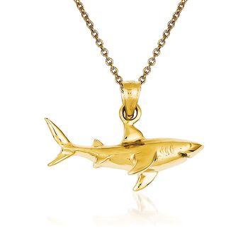 "14kt Yellow Gold Shark Pendant Necklace. 18"", , default"