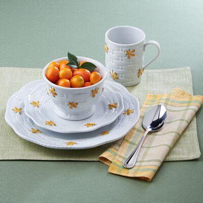 """""""Yellow Bees"""" Classic White Ceramic Dinnerware, , default"""