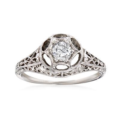 C. 2000 Vintage .30 Carat Diamond Filigree Ring in 14kt White Gold