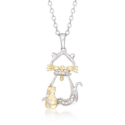 Two-Tone Sterling Silver Cat and Kitten Pendant Necklace with Diamond Accents, , default