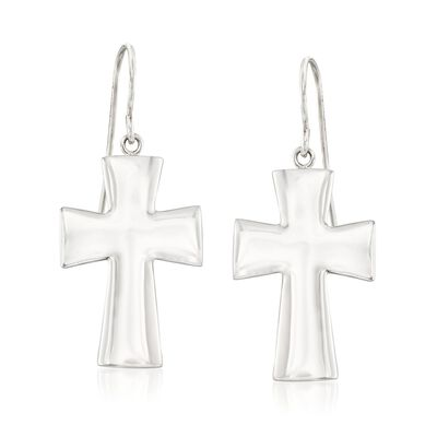 Sterling Silver Cross Drop Earrings, , default