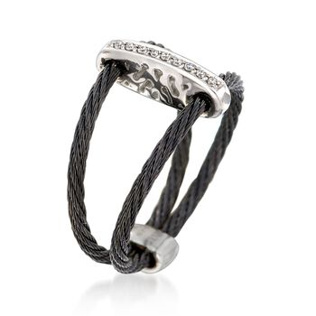 """ALOR """"Noir"""" Black Cable Bar Ring With Diamond Accents and 18kt White Gold. Size 7, , default"""