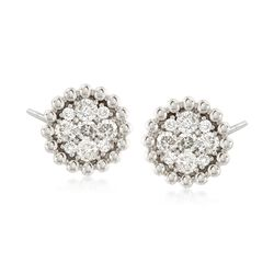 .85 ct. t.w. Diamond Cluster Earrings in 14kt White Gold , , default