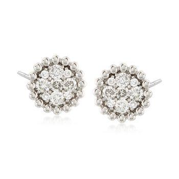 .85 ct. t.w. Diamond Cluster Earrings in 14kt White Gold , , default