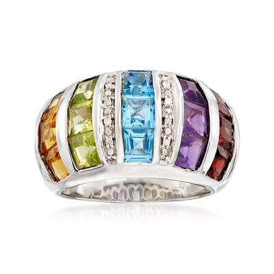 5.80 ct. t.w. Multi-Gemstone Dome Ring with Diamond Accents in Sterling Silver, , default