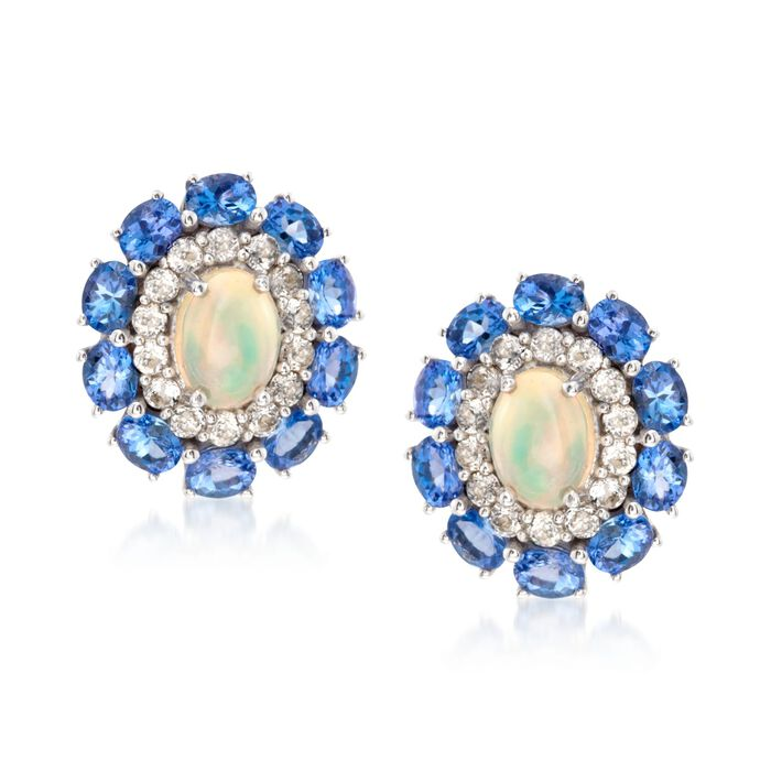 Opal and 3.00 ct. t.w. Tanzanite Earrings with White Topaz in 14kt White Gold Over Sterling