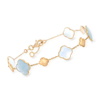Italian 9mm Mother-Of-Pearl and 5.00 ct. t.w. Aquamarine Clover Station Bracelet in 14kt Yellow Gold, , default