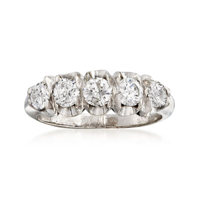 C. 1960 Vintage 1.00 ct. t.w. Diamond Ring in 14kt White Gold