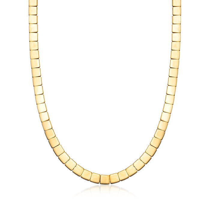 C. 2002 Vintage Tiffany Jewelry 18kt Yellow Gold Square-Link Necklace