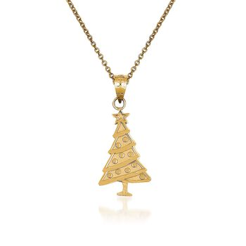 "14kt Yellow Gold Christmas Tree Pendant Necklace. 18"", , default"