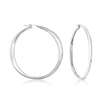 Italian Sterling Silver Hoop Earrings, , default