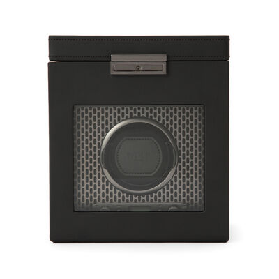 "Wolf ""Axis"" Powder-Coated Steel Single Watch Winder with Storage, , default"
