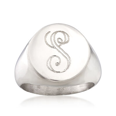 Italian Personalized Round-Top Ring in Sterling Silver, , default