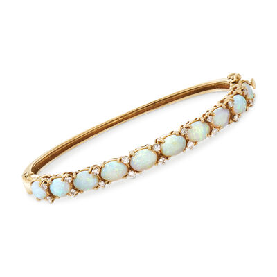 C. 1980 Vintage Opal and .45 ct. t.w. Diamond Bangle Bracelet in 14kt Yellow Gold, , default